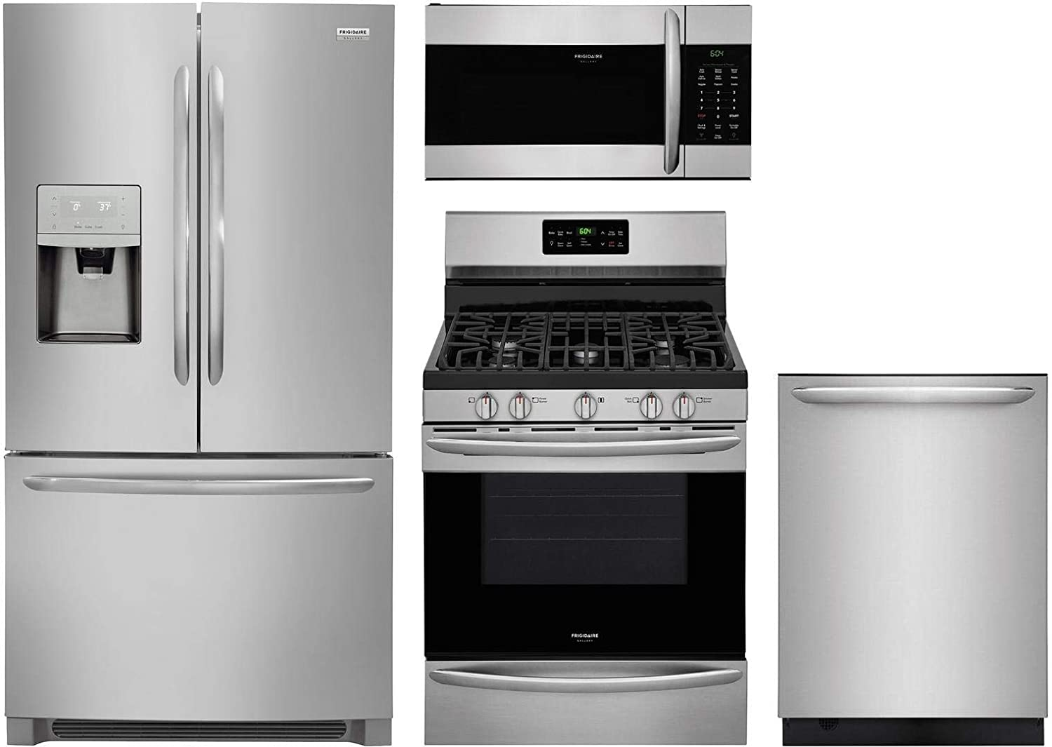 """Frigidaire 4 Piece Kitchen Appliance Package with FGHB2868TF 36"""" French Door Refrigerator FGGF3036TF 30"""" Gas Range FGMV176NTF 30"""" Over the Range Microwave and FGID2479SF 24"""" Built In Dishwasher in Stainless Steel"""