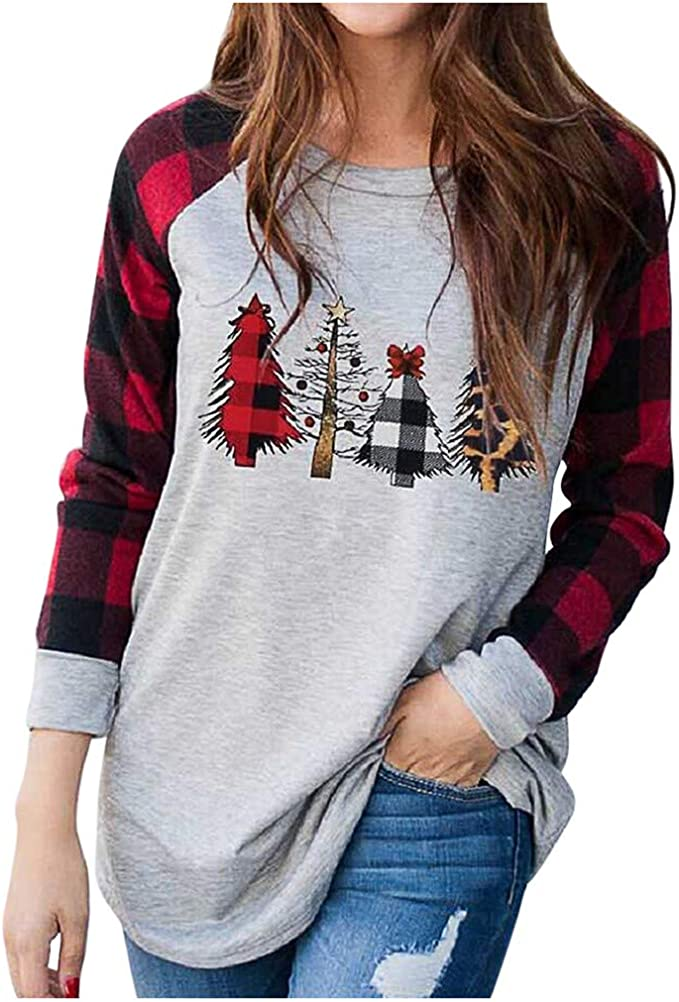 RNUYKE Fashion Women Christmas Loose Long Sleeve Cute Deer Tops Blouses Round Neck T-Shirt Pullovers