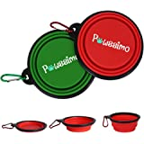 Pawssimo 2 Pack Collapsible Silicone Dog, Cat Food & Water Bowl | Multi Use, Travel Cup BPA Free Dishwasher Safe | Compact Di