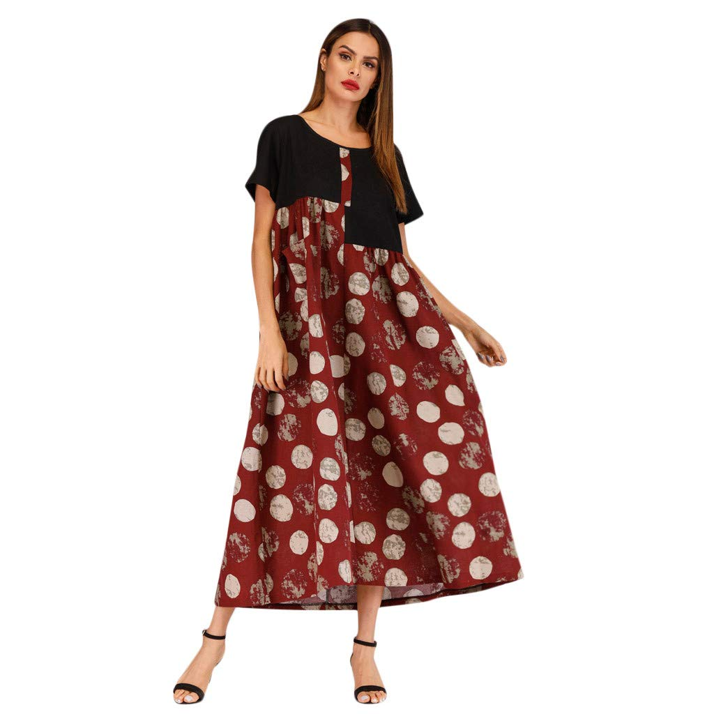 Women Vintage Retro Round Neck Print Short Sleeve Panel Dress Patchwork Party Dress Prom Swing Dress (S, Wine Red)
