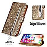 Shinyzone iPhone XR 6.1 inch Glitter Zipper Wallet Case,Smooth PU Leather Case + Soft TPU Inner Shell with Card Holder and Hand Strap,Magnetic Closure Kickstand Flip Cover-Gold