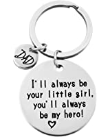 "MJARTORIA ""Dad I will always be your little girl ""Stamped Keychain Ring"