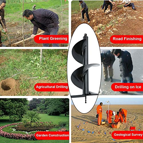 Earth Auger Drill Bit Fence Post Hole Digger Drill Garden Planting Non-Slip Hole Drill 4''/5''/6''/8'' (12'')