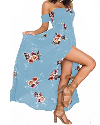 4fa92a8056 Summer Beach Maxi Dresses for Women Off The Shoulder Floral Boho Sundresses  Acid Blue XS