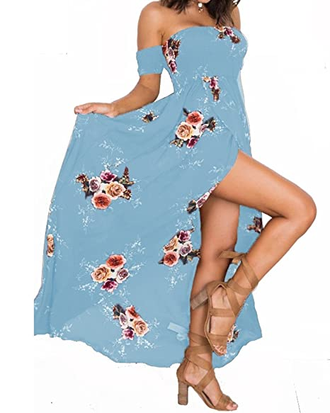 130bc5aefaa3 Summer Beach Maxi Dresses for Women Off The Shoulder Floral Boho Sundresses  Acid Blue XS
