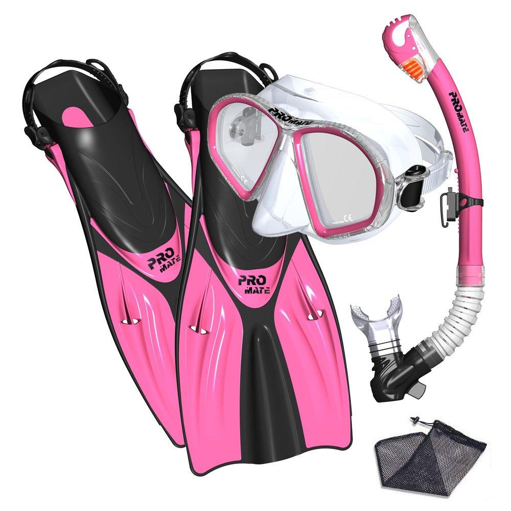 Promate Spectrum Snorkeling Fins Mask Snorkel Set, Pink, SM by Promate
