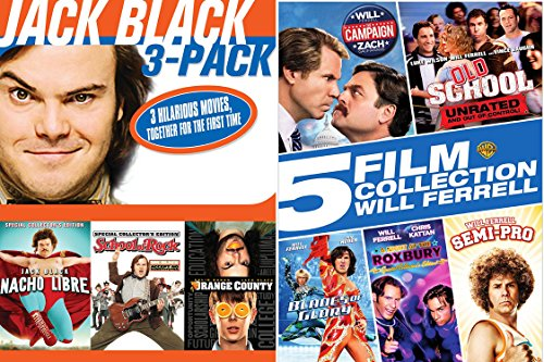 Will Ferrel & Jack Black Collection Comedy DVD set Old School + Semi-Pro & Blades of Glory / School of Rock / Nacho Libre 8 Movies (School Of Rock Jack Black)
