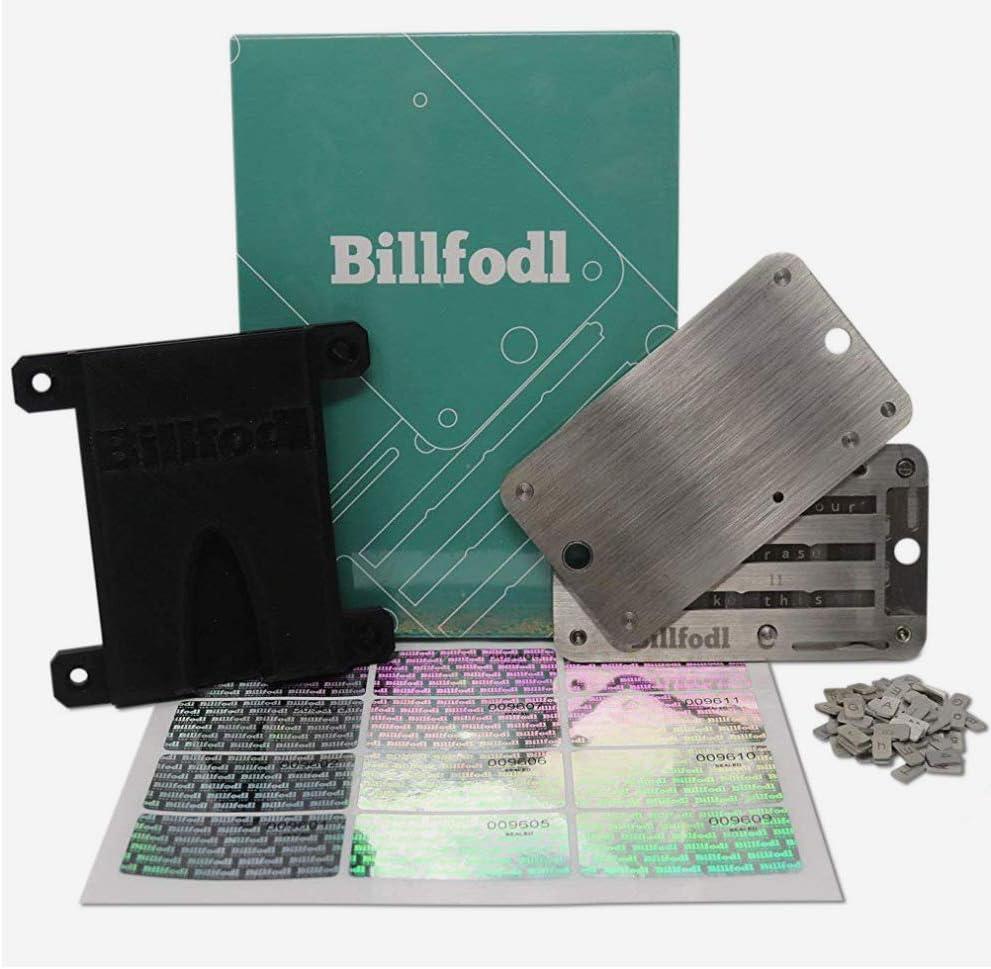 The HODL Bundle by BillFodl (1 Main Unit, 1 Set Tamper-Proof Stickers, 1 Fodl Hodler) | Bitcoin, Ethereum & Crypto Wallet - Hardware Wallet Backup for Ledger Nano S, Trezor & KeepKey