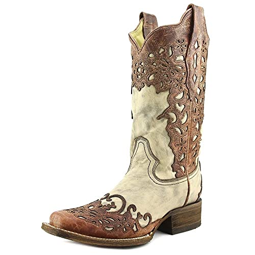 c2bf9597753 Corral Boot Company Womens Sand Cognac Laser Overlay Cowgirl Boots