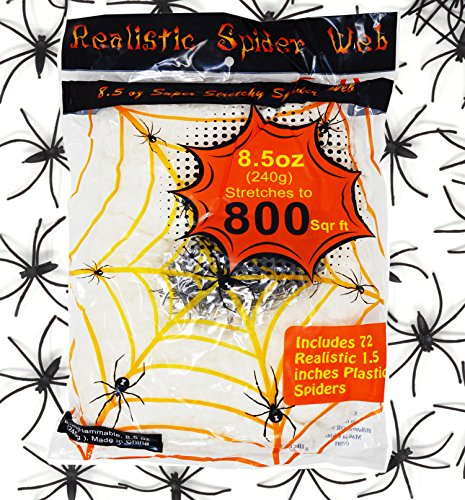 8 5 Oz Super Stretch Spider Web  Stretch To 800 Square Feet  With 72 Pack 1 5  Plastic Spiders By Spooktacular Creations