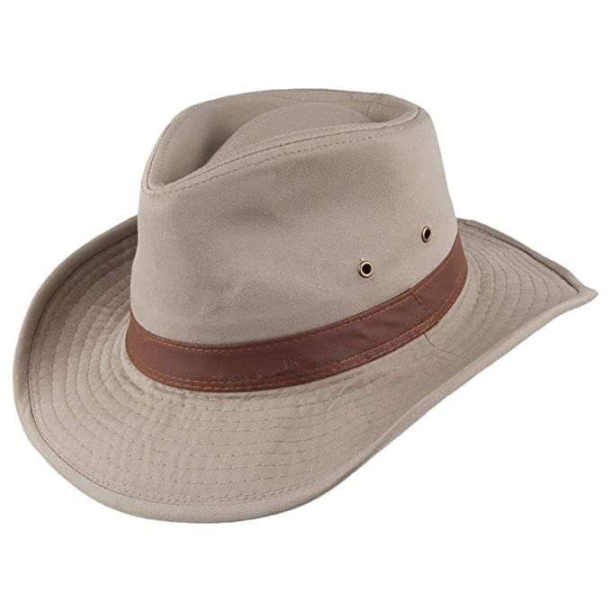 355ac6d907d Dorfman Pacific Hats Washed Twill Outback Hat - Khaki  Amazon.co.uk ...