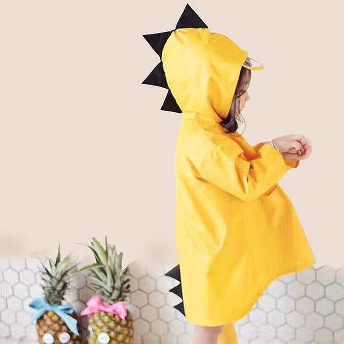 Andux Land Children Raincoat Dinosaur Shaped Rainwear for Boy for Girl Yellow ETYY-01