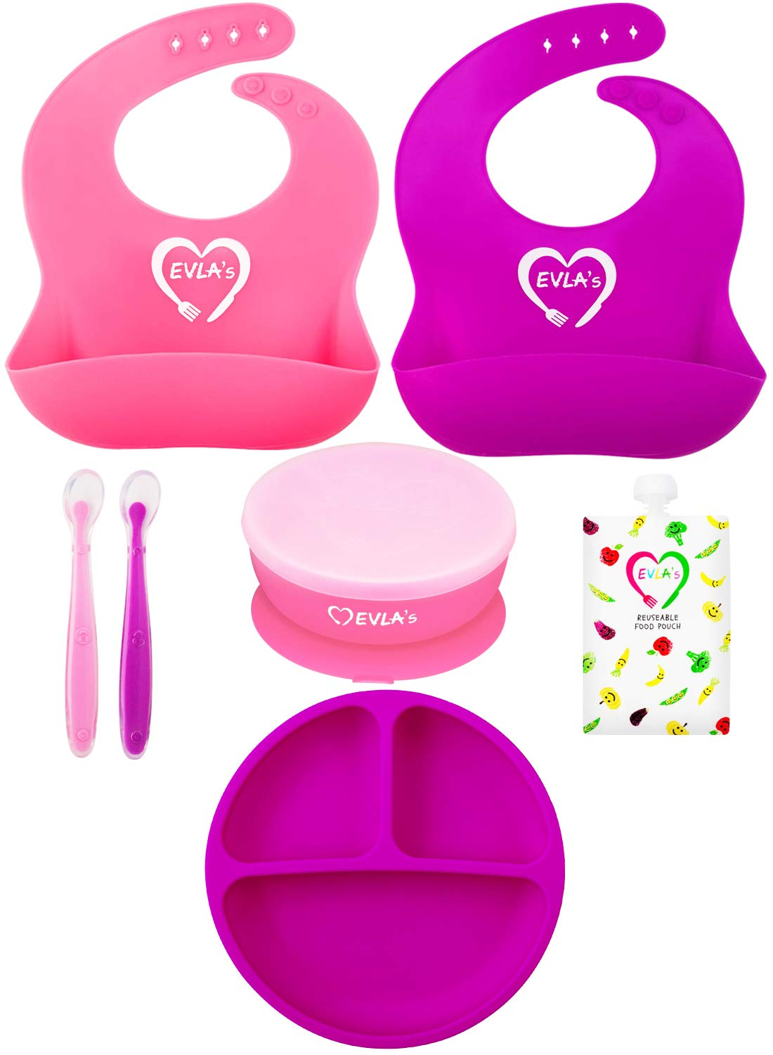 Baby Weaning Bibs | Baby Bowls | Baby Plates | Weaning Spoons | Complete Baby Feeding Set | Suction Bowl & Plate Stay On Table | Less Mess & Easy Clean (Dishwasher Safe) | LFGB Approved Silicone