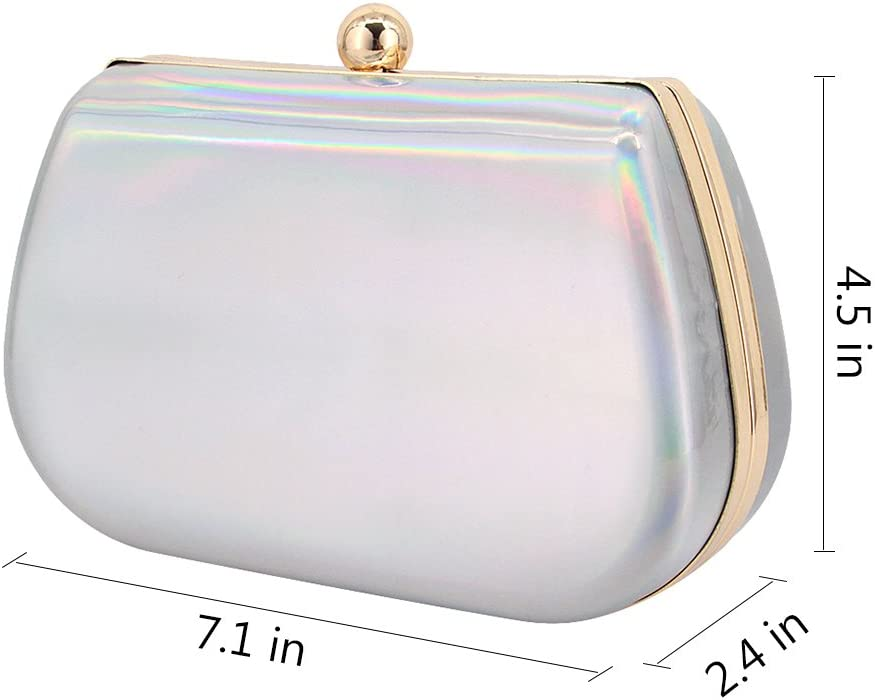 Naimo Womens Holographic Hardcase Cocktail Clutch Evening Handbag
