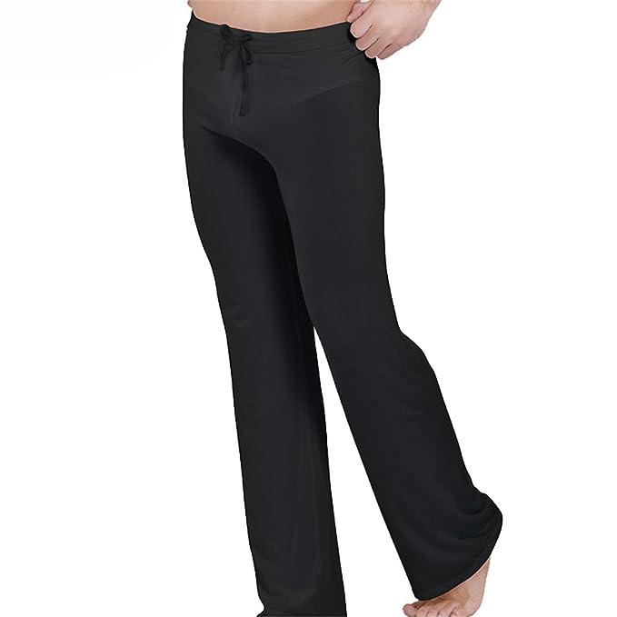 Jeff Tribble Drawstring Sleep Bottoms Men Soft Sleeping Trousers See Through Pajamas Pants Loose Long at Amazon Mens Clothing store: