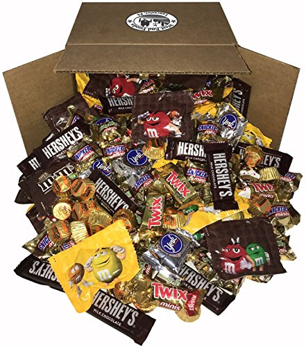 Chocolate Candy Assorted (8 Pounds) Snickers Bar, M&Ms Milk, Peanuts, Reese's, Milky Way, Twix, Hershey, York Mini Size Bulk Snacks for -