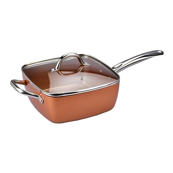Sarten Copper Chef cuadrada con revestimiento de partículas de cobre: Amazon.es: Hogar