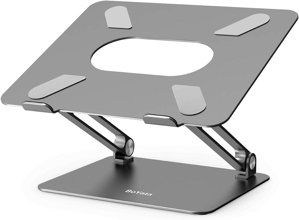 BoYata Soporte para computadora portátil, multiángulo Elevador con ventilación térmica Compatible para computadora portátil (10-17 Pulgadas) MacBook Pro/Air, Surface Laptop, HP Notebook-Gris