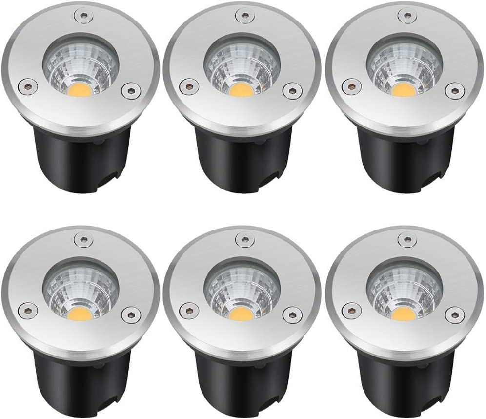 LCARED Landscape Lights 5W LED Outdoor Pathway Lights 12V 24V Low Voltage Waterproof Spotlights for Indoor Outdoor Step Deck Yard Garden Patio,Warm White(6 Pack)