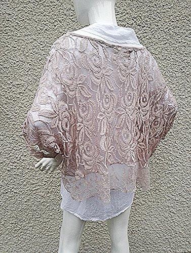 fashionfolie Femme Gilet Grande taille 42/44/46/48 dentelle tunique 2 pièces haut chic mariage TY ROSE