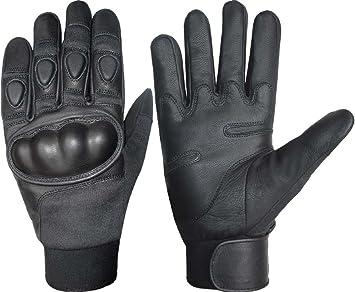 Kevlar duro Protección de nudillos Guantes de piel negro negro M