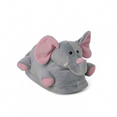 bdf5700884d51 Funslippers Chaussons Peluche Animaux Fantaisie Taille 39-41 Elephant,  Gris, Premium Pantoufles avec