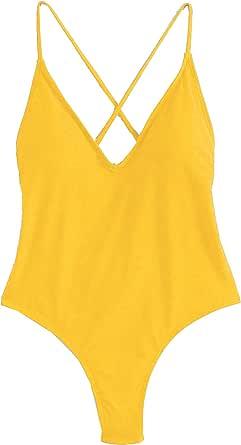 SweatyRocks Traje de baño sexy para mujer, color sólido, espalda abierta, traje de baño de una pieza