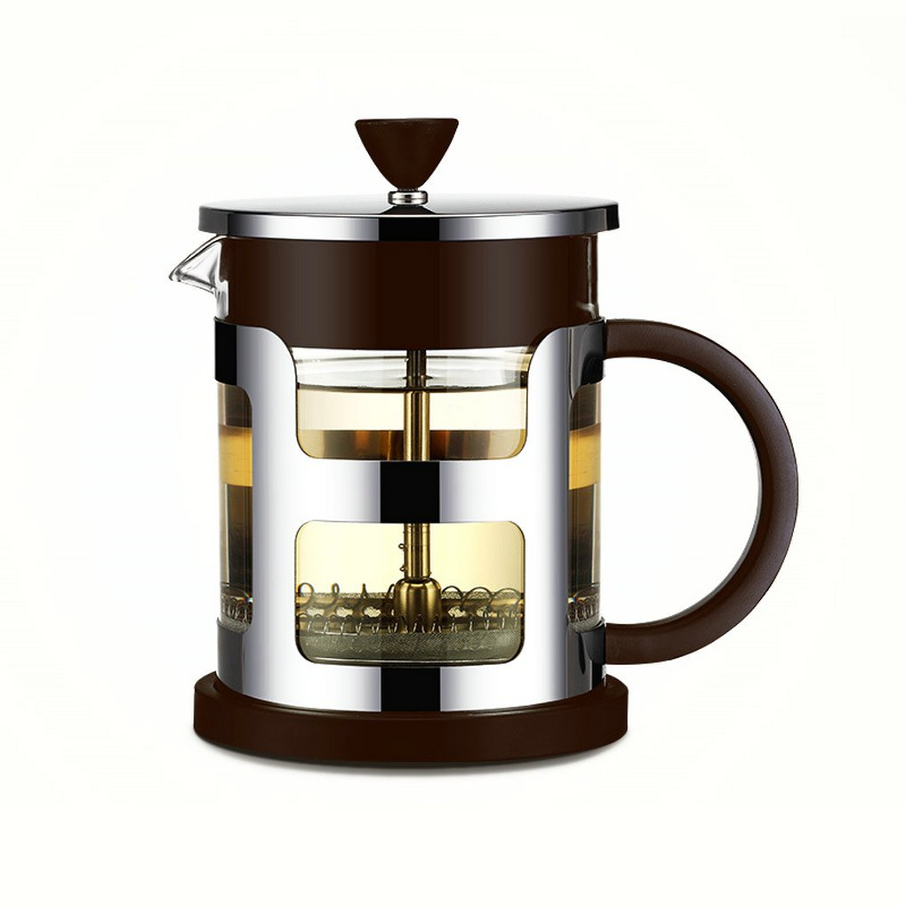 GuDoQi French Press Coffee Maker 304 Stainless Steel Double Heat Resistant Glass 21 Oz Tea Makers for 3-4 Cups of Coffee or Tea