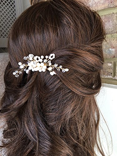 Unicra Wedding Pearl Floral Hair Comb Decorative Bridal Wedding Hair Accessories Hair Set Jewelry for Brides and Bridesmaids