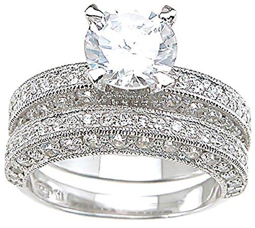 1.25 Carat Round Brilliant Cubic Zirconia Silver Wedding Ring - 8