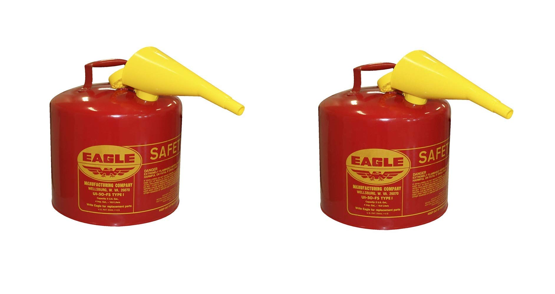 Eagle Mfg Type l Safety Cans, Gas, 5 gal, Red, Funnel