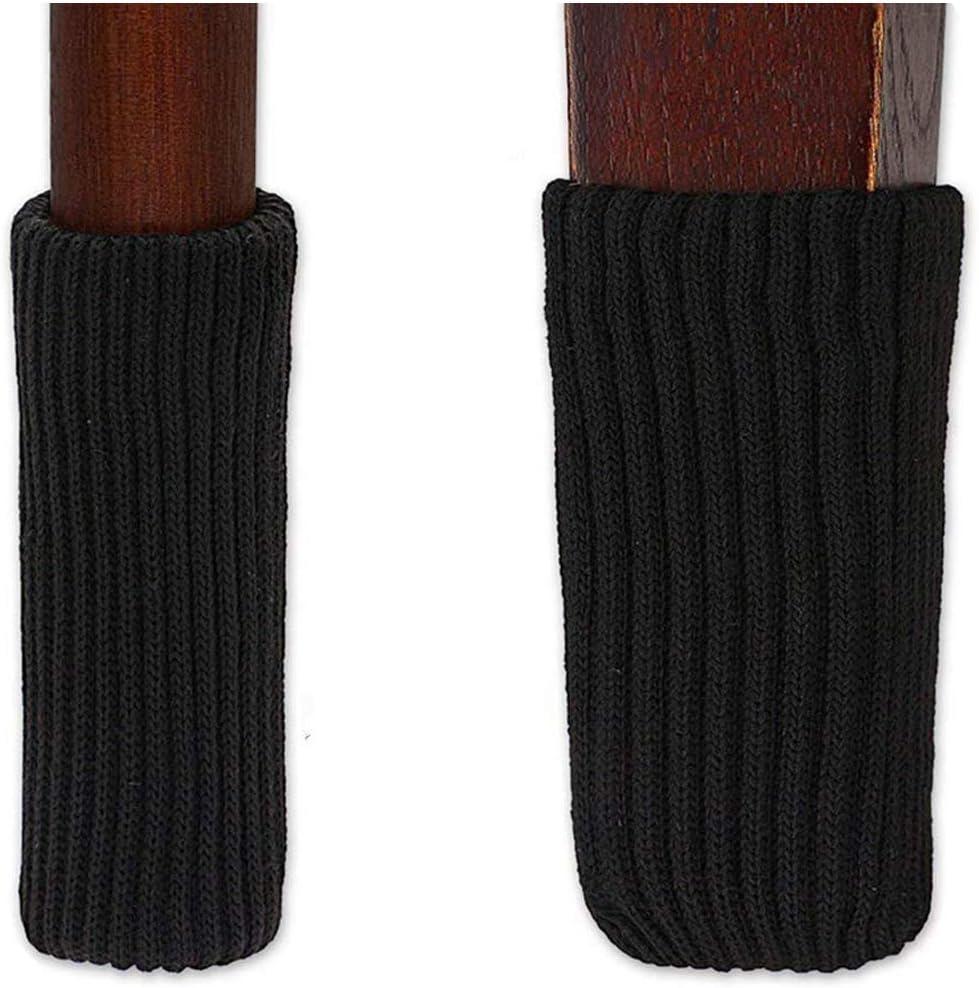 TEKEFT 8pcs Black Color Knitting Wool Furniture Socks/ Chair Leg Floor Protector (Black)
