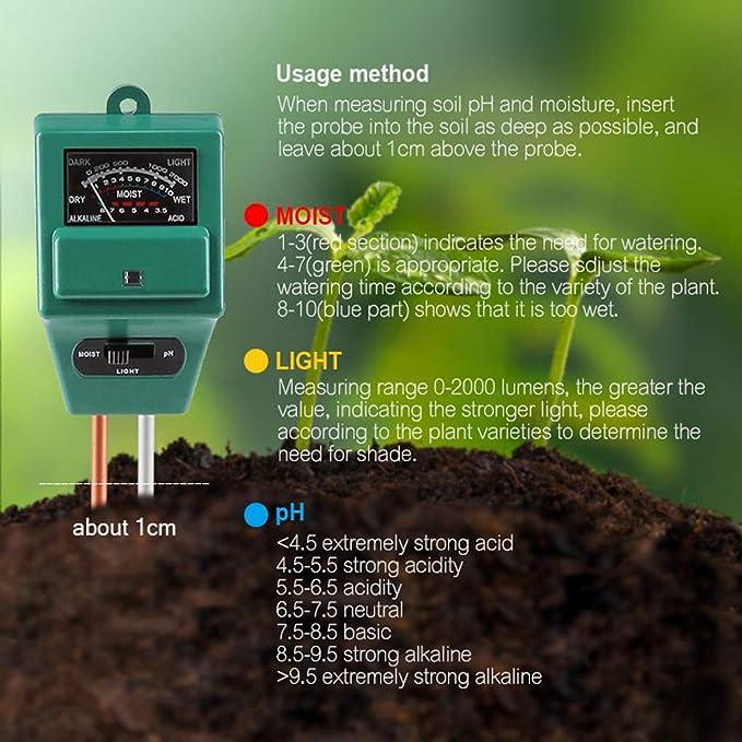 Lindahaot 3 in 1 Boden-pH-Meter Blumentopf Hygrometer Soil Tester Pflanzen Wachstum Moisture Lichtintensit/ät Detector Gr/ün 290 38mm 50