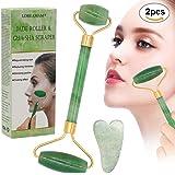 Jade roller Massager,Gua Sha Scraping,giada naturale del viso e collo del Massager del rullo,Face Slimmer strumento di bellezza terapia roller 2PCS