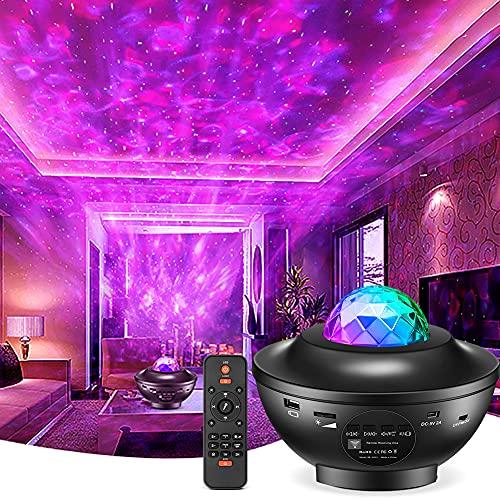 Sternenprojektor Nachtlicht,LED Dimmbar Galaxy Projector Light mit Fernbedienung Bluetooth,Sternenhimmel Farbwechsel Touch Lampe für Kinder Nacht Kinderzimmer Zuhause Geschenk dekoration,Disco Licht
