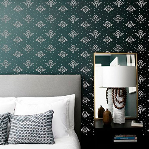 Damask Wallpaper Patterns (PATTERNED PAINT ROLLER Pattern roller kit Home-Decor & Wallpaper imitation Nursery design DIY Painting tool pattern - Damask Rose Wall Mural Decals & Stickers Decorative Furniture Gift FREE GLOVES)