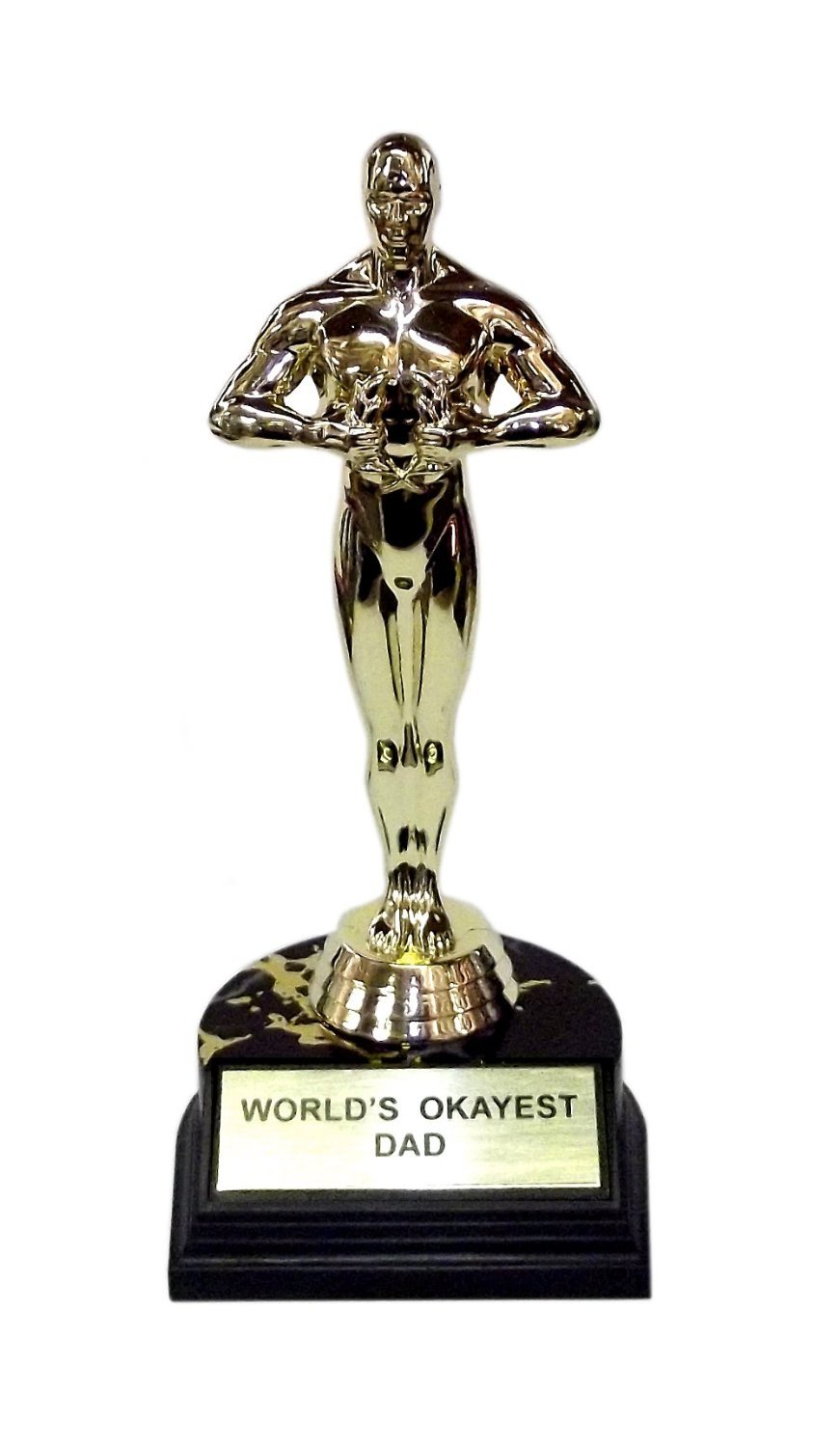 World's Okayest Dad Trophy-7''H x 3.25''L x 3.25''W