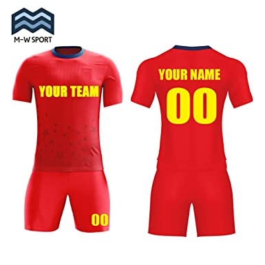 f1ec77636 M-W Sports China Red Sport Jerseys Custom Team Soccer Uniform Sublimated  Your Team Name,Logo and Number