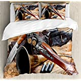 Hunting Decor King Size Duvet Cover Set by Ambesonne, Hunting Materials on Fur Rifle Ammunition Cartridge Knife Sheath, Decorative 3 Piece Bedding Set with 2 Pillow Shams, Brown Light Brown Black
