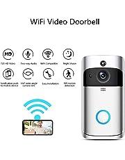 WiFi Doorbell, Smart IP Camera Doorbell Motion Detection Night Vision Two-Way Audio Remote-Control Security Camera Wireless Doorbell (F1)