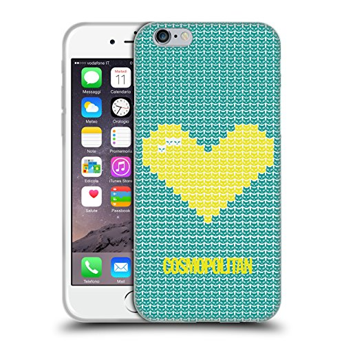 Official Cosmopolitan Yellow On Teal Pixel Heart Lovey Soft Gel Case for Apple iPhone 6 / 6s