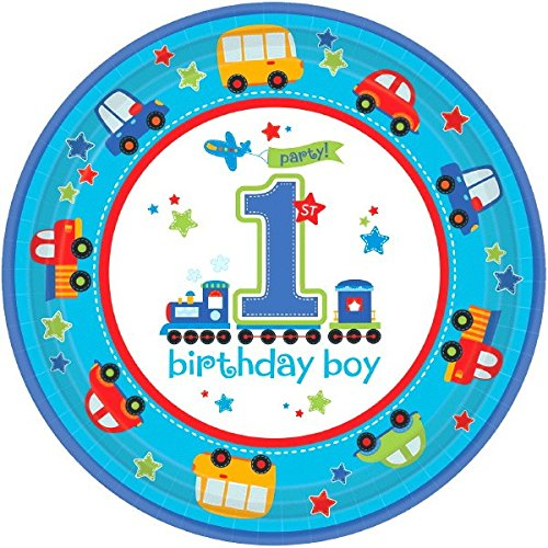 [All Aboard! Birthday Party Round Dessert Plates Tableware, Multi Colored, Paper, 10 1/2