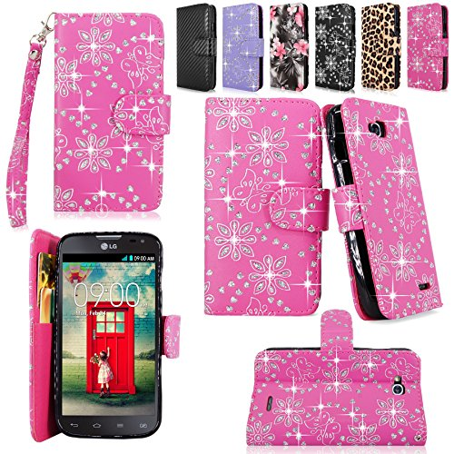 Cellularvilla Wallet Case for LG Optimus L90 Dual D410 Pu Leather Shiny Glitter Wallet Card Flip Open Pocket Case Cover Pouch (Pink - For L90 A Lg Case