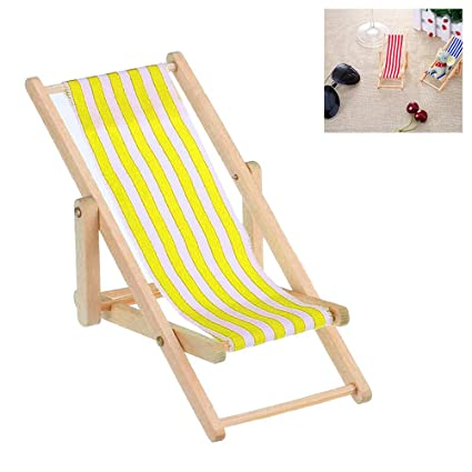 339a6207f18 Buy 1 12 Mini Beach Lounge Chair Dollhouse Miniature Chairs Kids Toy  Furniture Folding Stripe Deck Chair Online at Low Prices in India -  Amazon.in