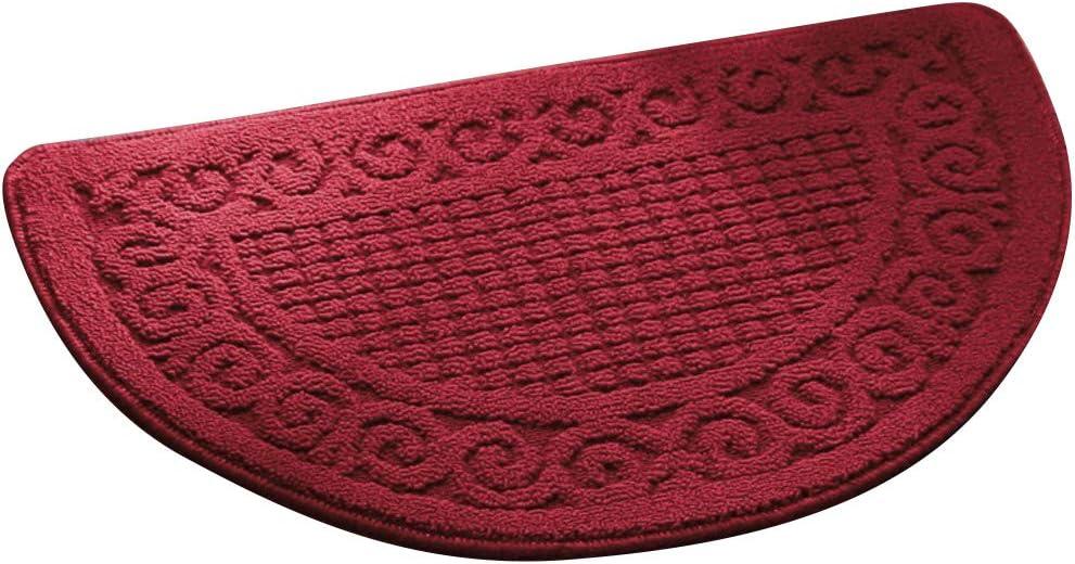 Echaprey Half Round Non-Slip Kitchen Bathroom Toilet Doormat Floor Rug Mat Keeps Your Floors Clean Home Decor (Large, Red)