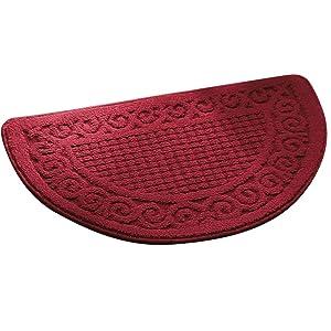 Olpchee Half Round Non-Slip Kitchen Bedroom Toilet Doormat Floor Rug Mat Keeps your Floors Clean Decorative Design (Large, Red)
