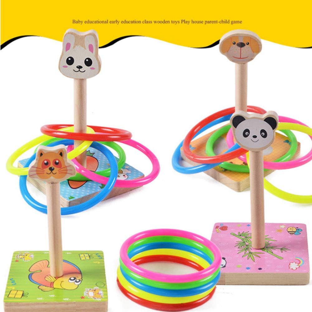 Sungpunet Ring des Zugrings des Ringes des Spielrings des Abnehmbaren Ringes mit den Holzkanten f/ür Kinder