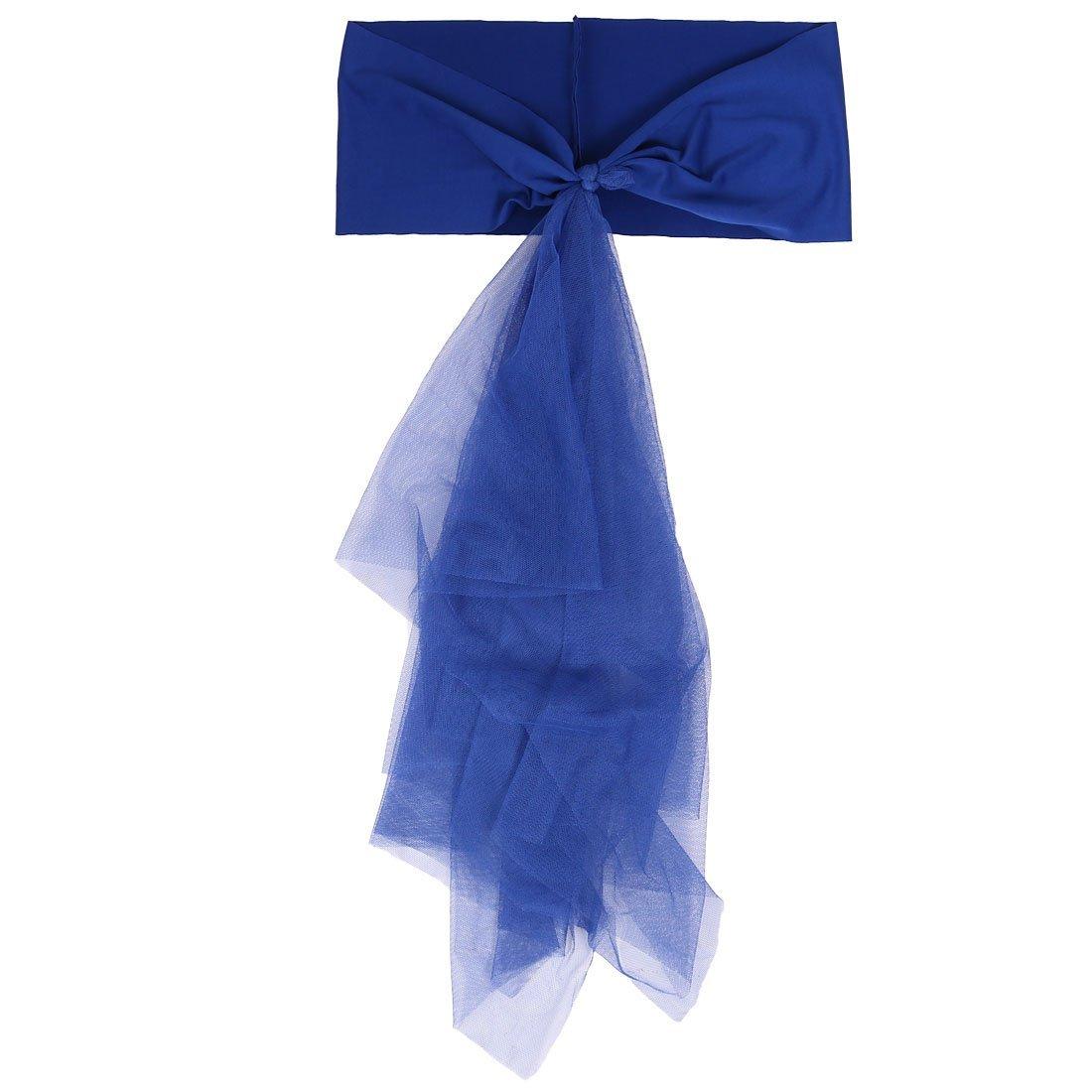 Amazon.com: eDealMax Cubierta de la Silla del ornamento Aniversario Festival de banquetes banquete de boda de la decoración de Rose Banda 2 en 1 Azul ...