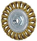 PFERD 82366 Standard Twist Knot Wheel Wire Brush, Brass, 4'' Diameter, 5/8-11'' Thread Size.014 Wire Diameter, 20000 RPM (Pack of 10)