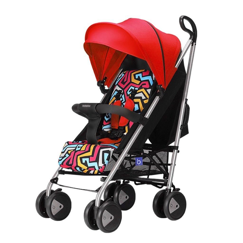 HAIZHEN マウンテンバイク 赤ちゃんカート赤い青座って軽いラバーサスペンションホイールアルミ合金フレームFoldable調節可能なサンシェードサンプロテクションアンチUVベビーキャリッジ75 * 48 * 106センチメートル 新生児 B07DLFBLYV赤
